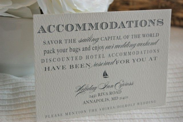 Weekend Wedding Accommodation Card Wording