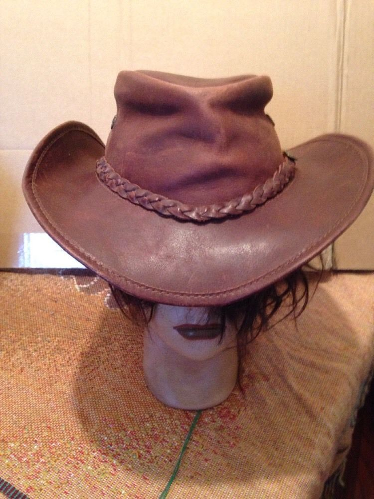 9440fea66d041 OverLander Cracker Jack Genuine Leather Made In Australia Hat 21-1 2 Inches