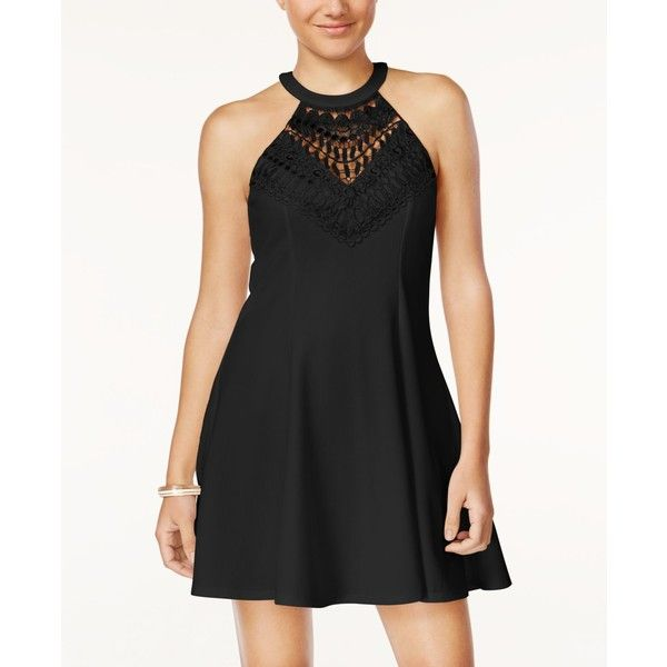 Material Girl Juniors' Lace Halter Fit & Flare Dress, ($35) ❤ liked on Polyvore featuring dresses, caviar black, lace halter dresses, lacy dress, embellished halter top, halter-neck dress and halter top