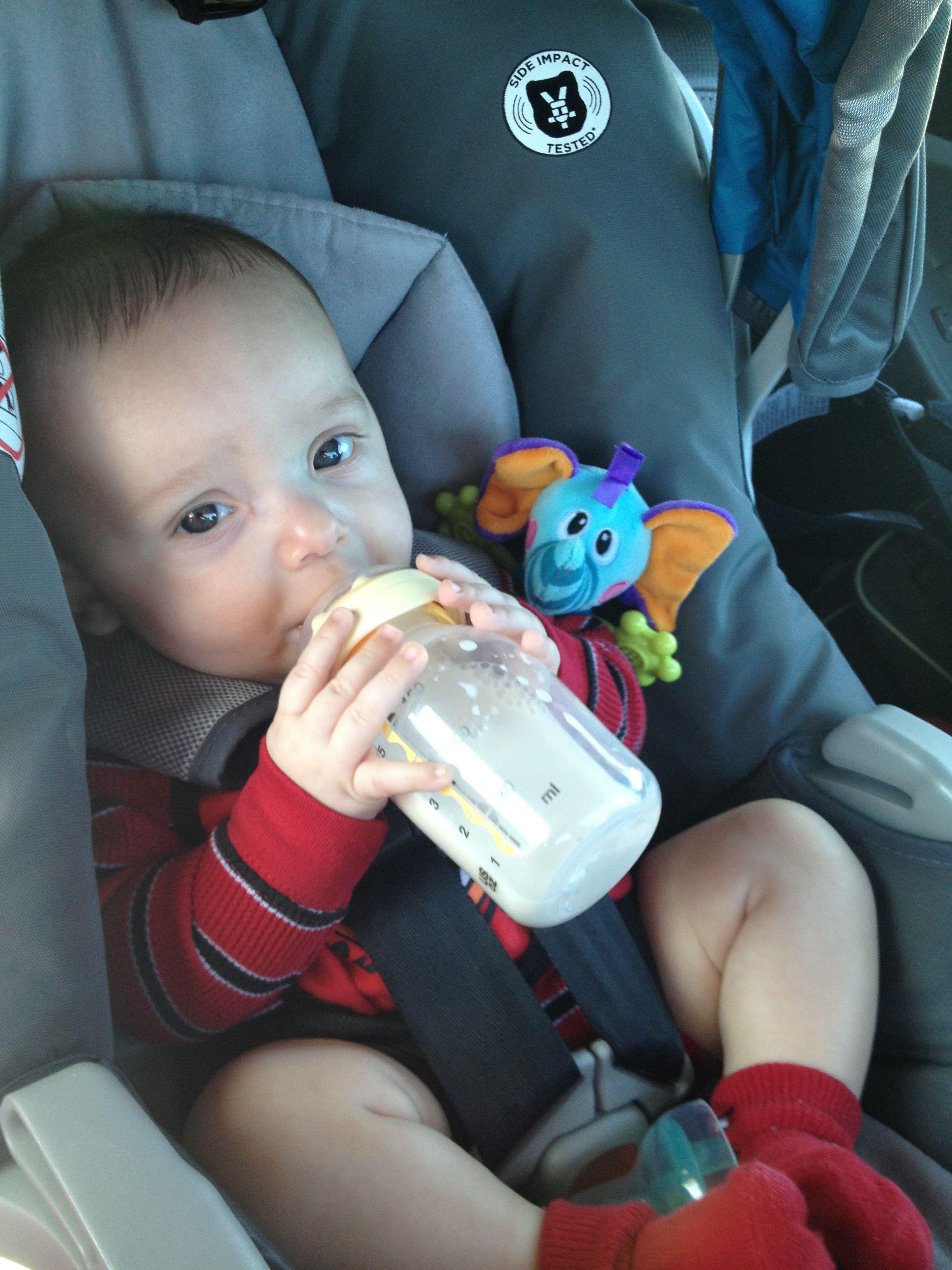 Liam holding his own bottle   Bottle, Baby, Children