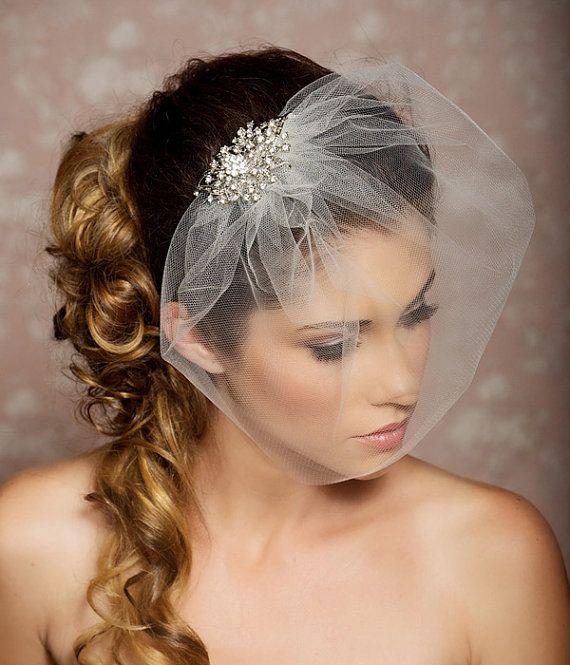 Rhinestone Veil Crystal Wedding Comb Blusher Tulle