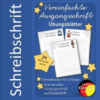 German- Schreibschrift, Druckschrift, Ausgangsschrift üben ...