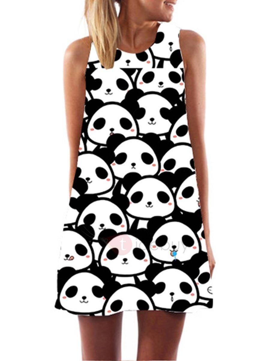 Tidebuy Tidebuy Panda A Line Sleeveless Womens Dress Adorewe Com Panda Art Panda Wallpapers Cute Panda Wallpaper