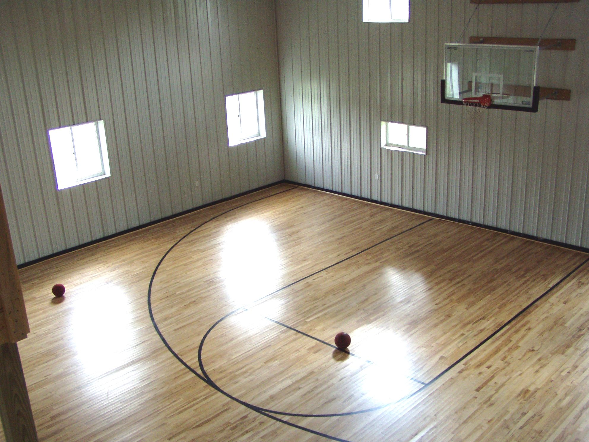 Insulated Lined Half Court Basketball For The Kids Both Young And Old Home Gym Decor Basketball Room Home Gym Design