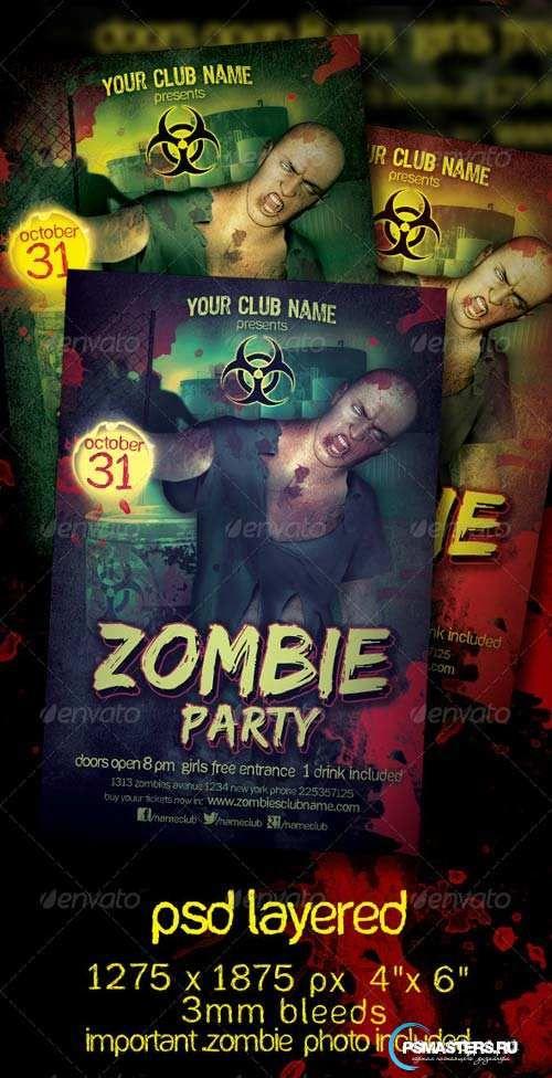 GraphicRiver Zombie Party Flyer Template Diseño Pinterest - zombie flyer template