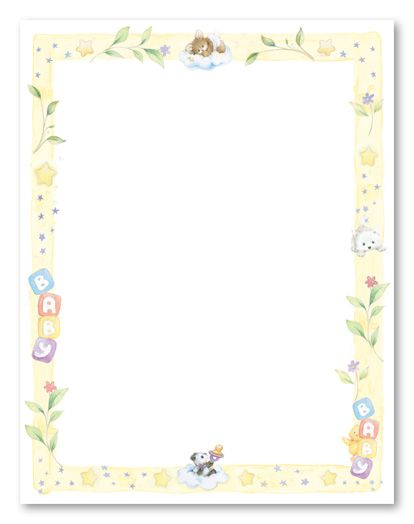 Free Baby Borders For Word Documents : borders, documents, Sweet, Dreams, Shower, Stationery, Scrapbook, Shadow, Baby,, Borders, Paper