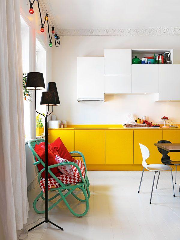 Inspirations Autour De La Cuisine Cuisine Jaune Jaune Et - Cuisine jaune et blanche pour idees de deco de cuisine