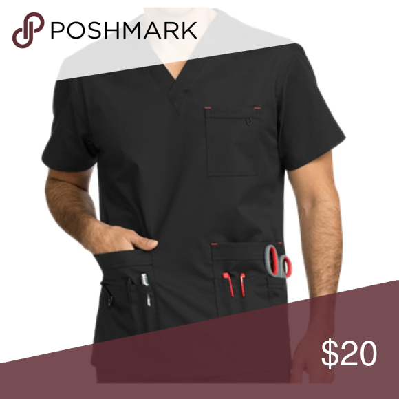 51c426ce4ed MED COUTURE MC2 TACTICAL 1-POCKET TOP (SCRUB TOP) BLACK Keep your look  simple with clean lines in this Med Couture MC2 Tactical 1-Pocket Top.