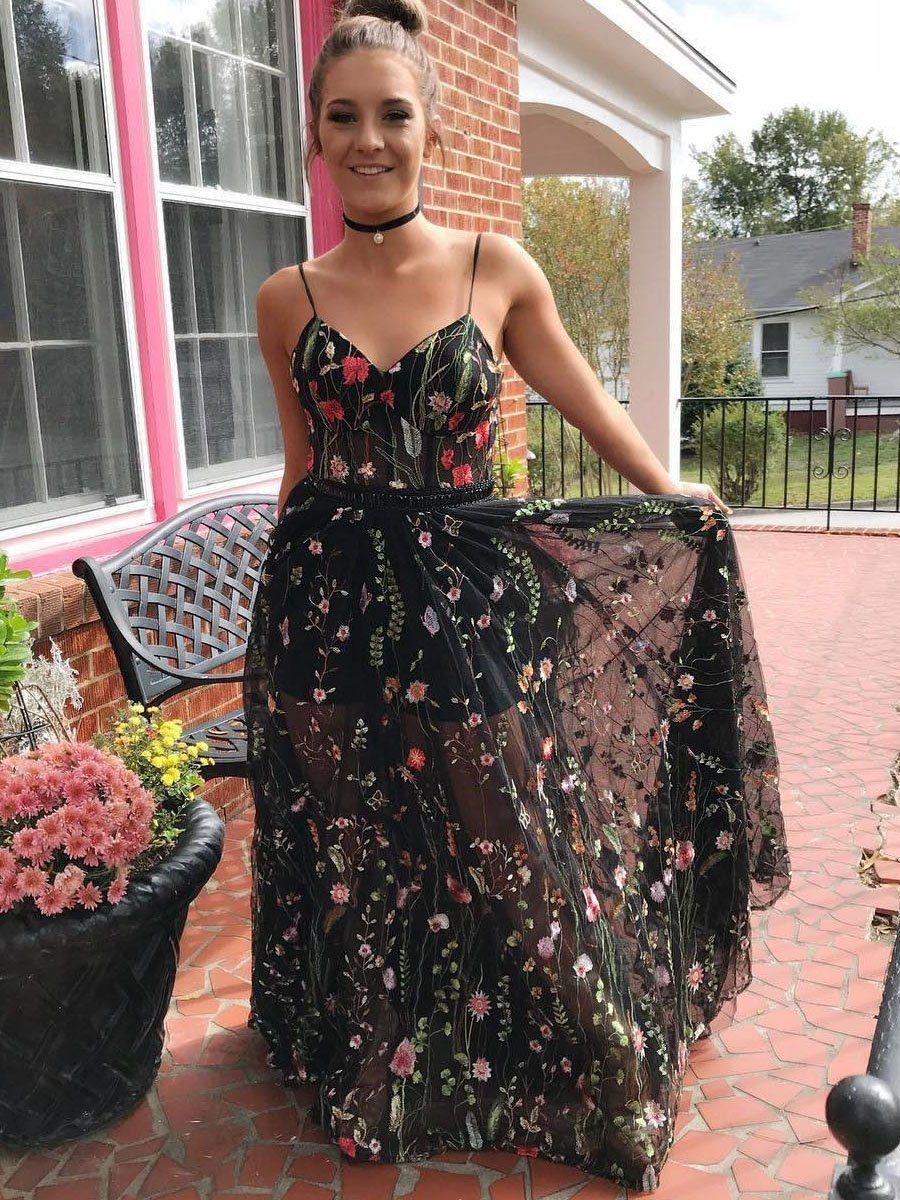 Boho prom dresses aline spaghetti straps floral long prom dress
