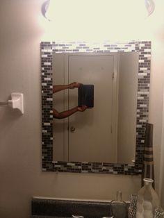gel peel and stick tile framed mirror