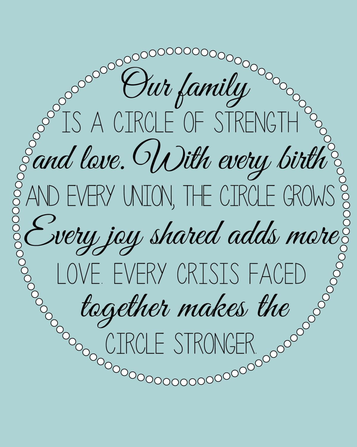Our Family is a Circle of Strength and Love by ArdentPrint on Etsy