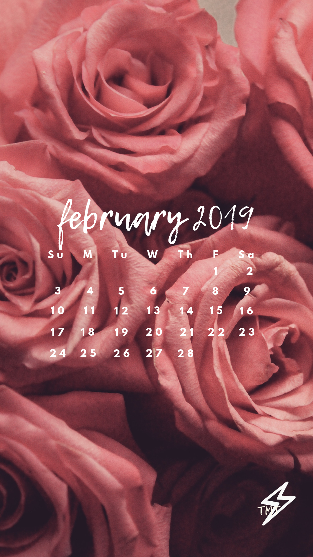 iPhone or Android February 2019 wallpaper Valentine's