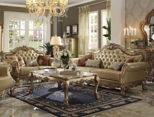 2pc Sofa Set Dresden Gold Patina Bone PU Sofa Loveseat For Living Room Furniture…