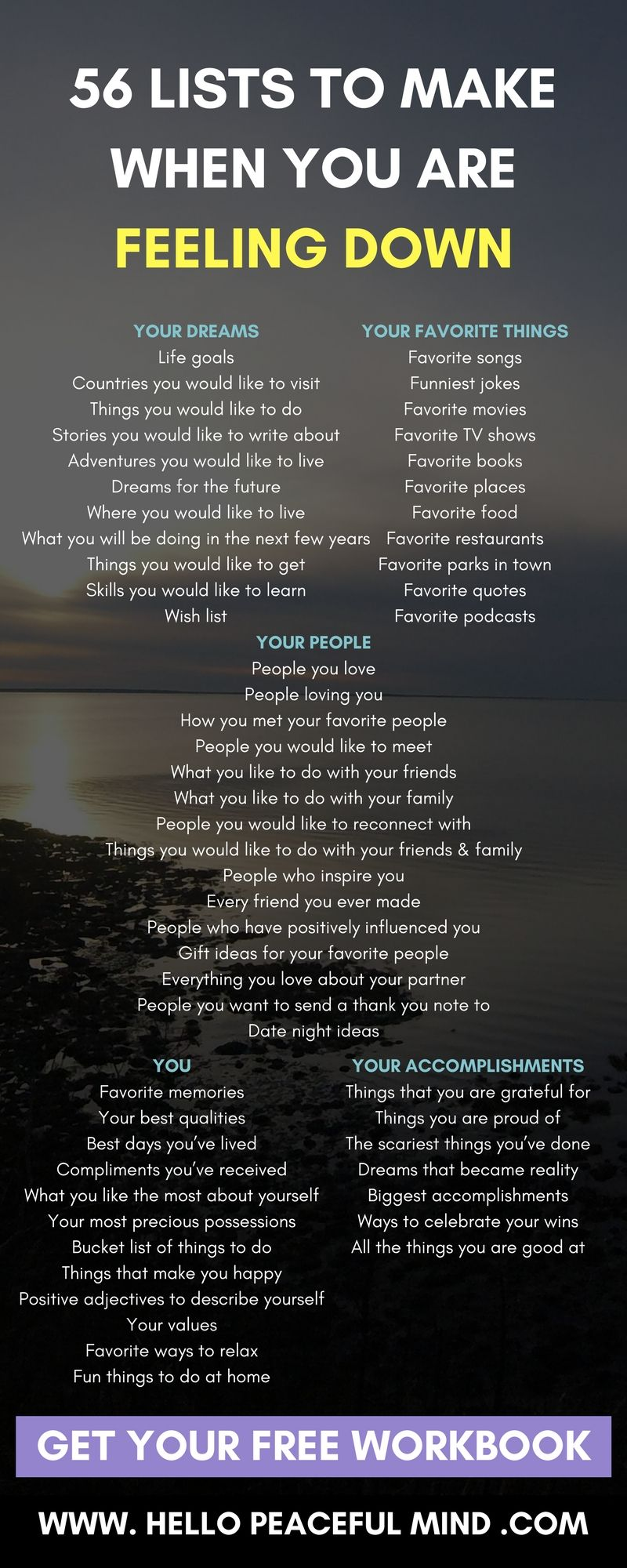 Here are easy lists to make to help you be more positive! quotes. wisdom.  advice. life lessons.