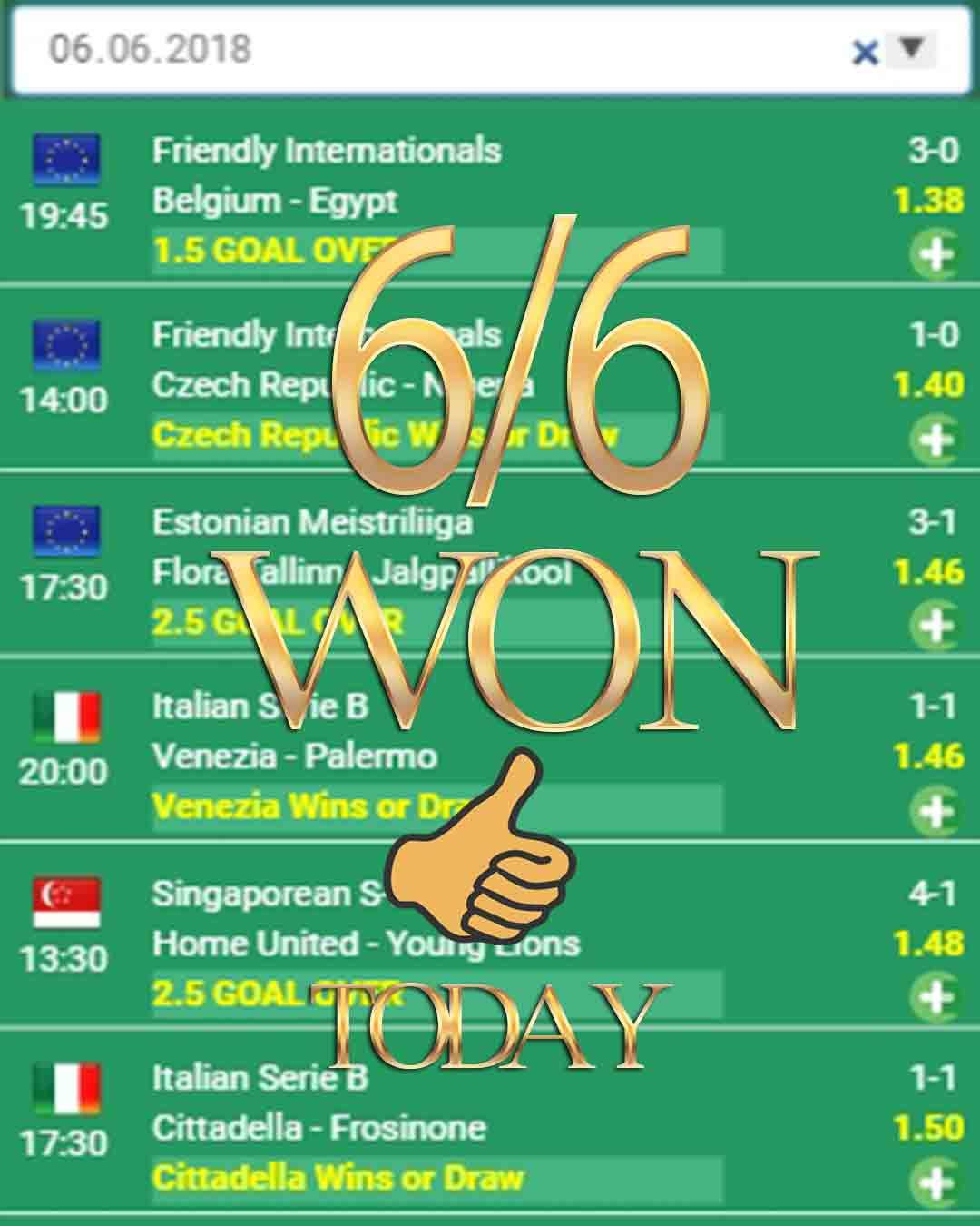 Betting tips 6/6 WON sport bets, sport, sports, tipico