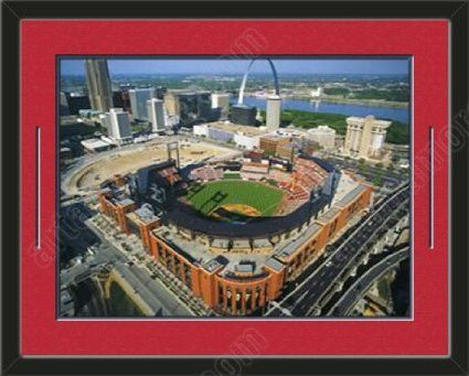 St. Louis Cardinals New Busch Aerial View Large Stadium Poster-Framed With Team Color Double Matting