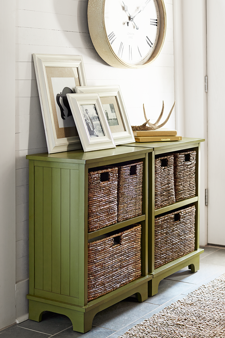 Hand-woven banana plant baskets and an antique moss-green finish ...