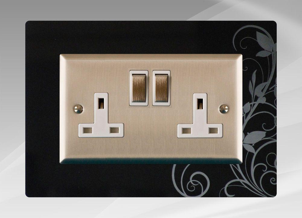 Double Electric Plug Socket Surround, Finger Plate, Ivy - FREE UK ...