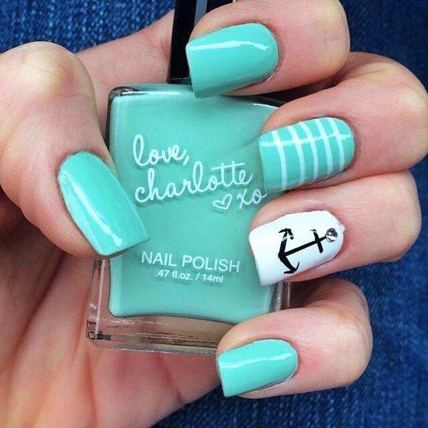 diseño de mar uñas menta | manicure | Pinterest | Uñas menta, Menta ...