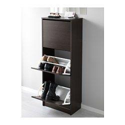 BISSA Skoskap med 3 rom, svart, brun - 49x135 cm - IKEA