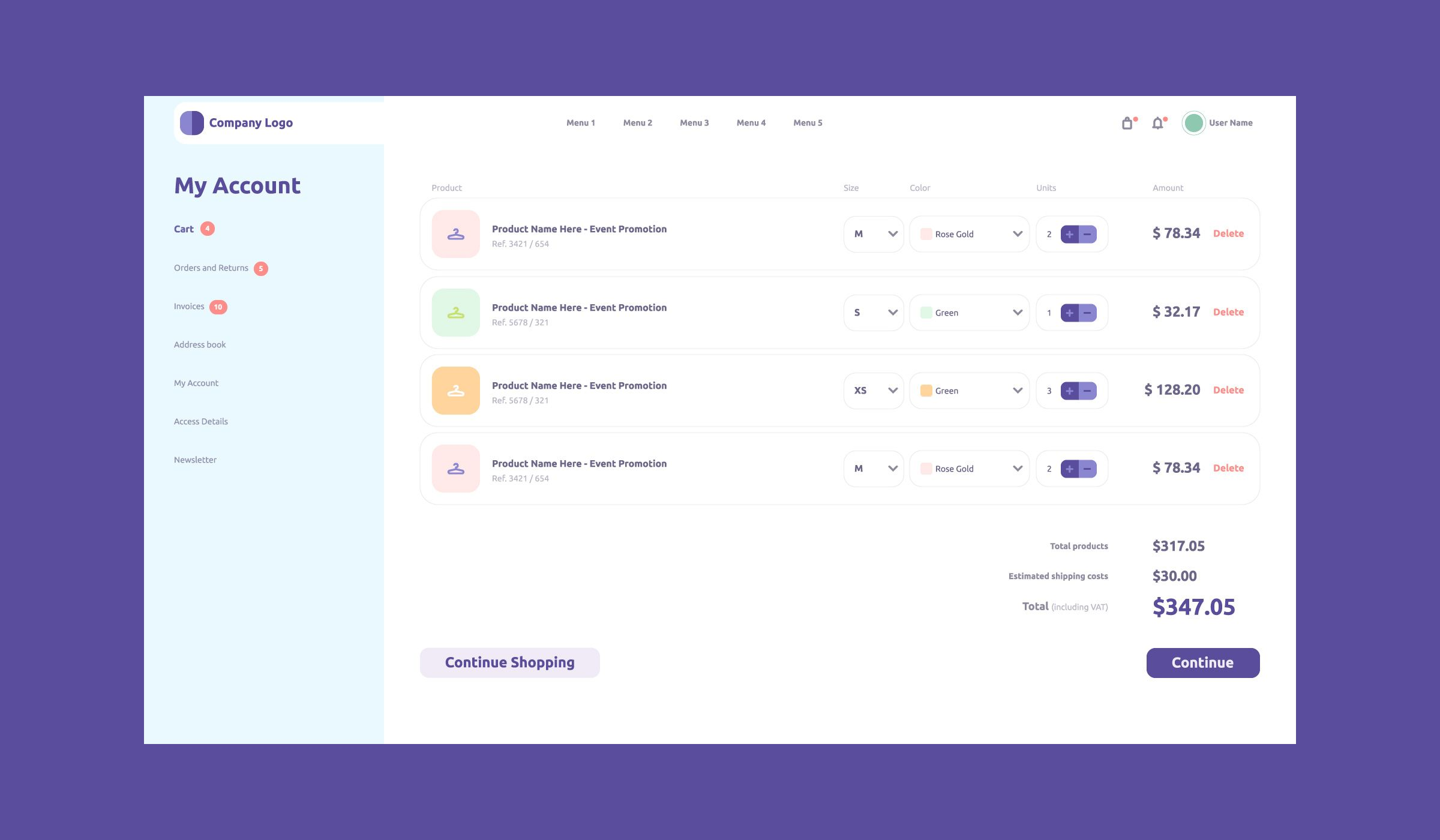 Shopping mall cart order page design template in 2020