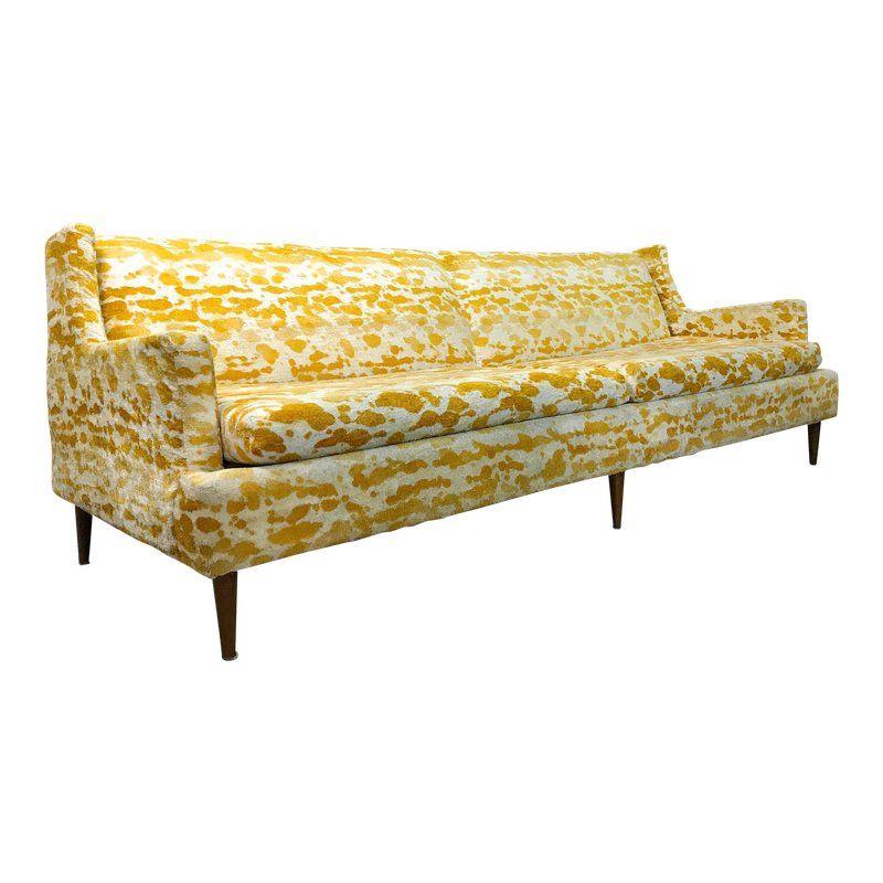 1950s Vintage Mid Century Modern Velour Sofa For Sale Mid