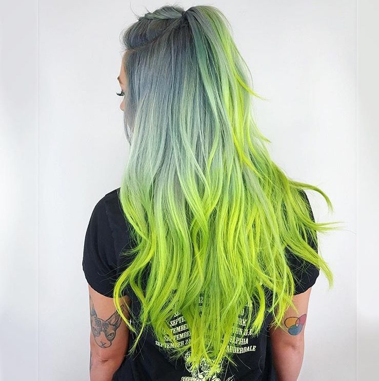 Smokey Ash Grey And Light Green Colormelt For Long Hair Grey And Green Ombre Green Hair Neon Hair Creative Hair Color