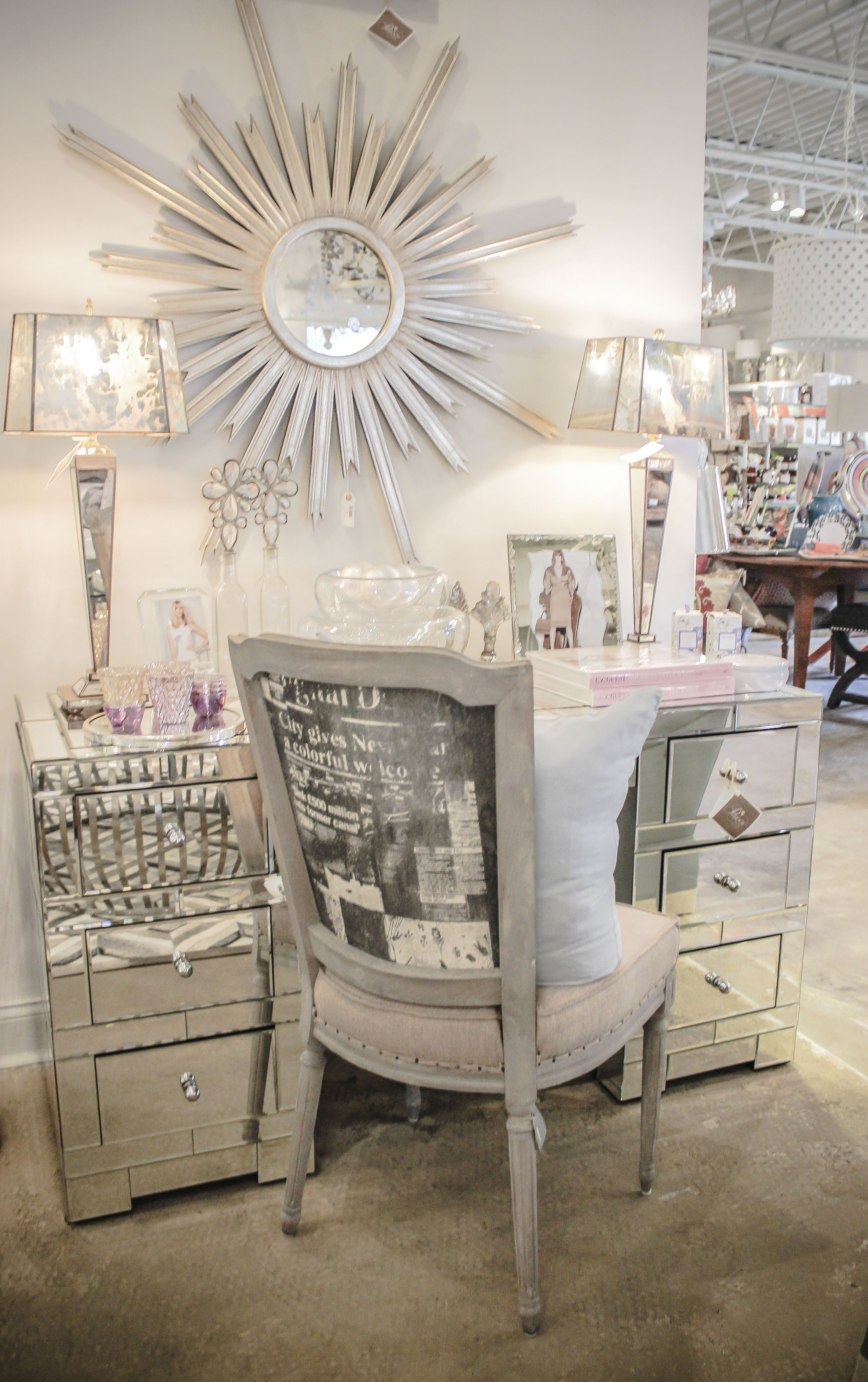 Mirrored Desk Starburst Mirror Shabby Chic Chair And Lamps