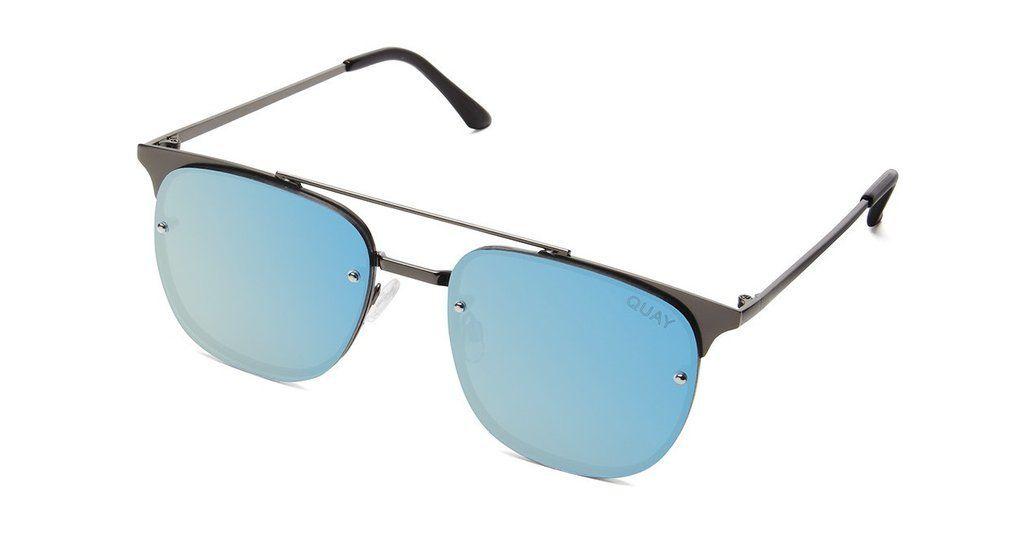 a0551e9550 Quay Australia Private Eye Gunmetal Blue Aviator Sunglasses - Holly   Brooks