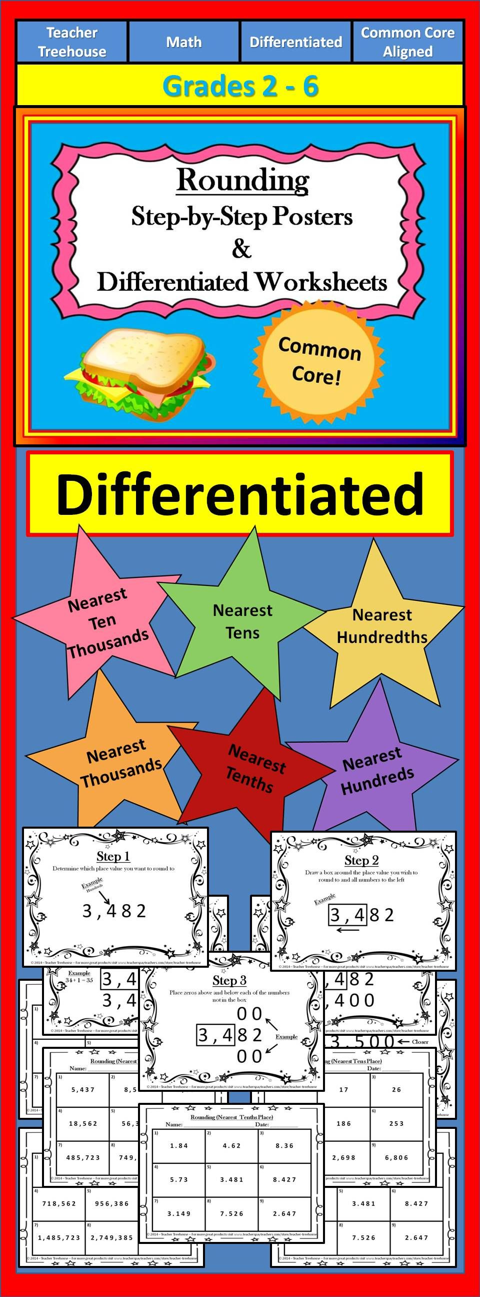 rounding worksheets - rounding posters - rounding decimals