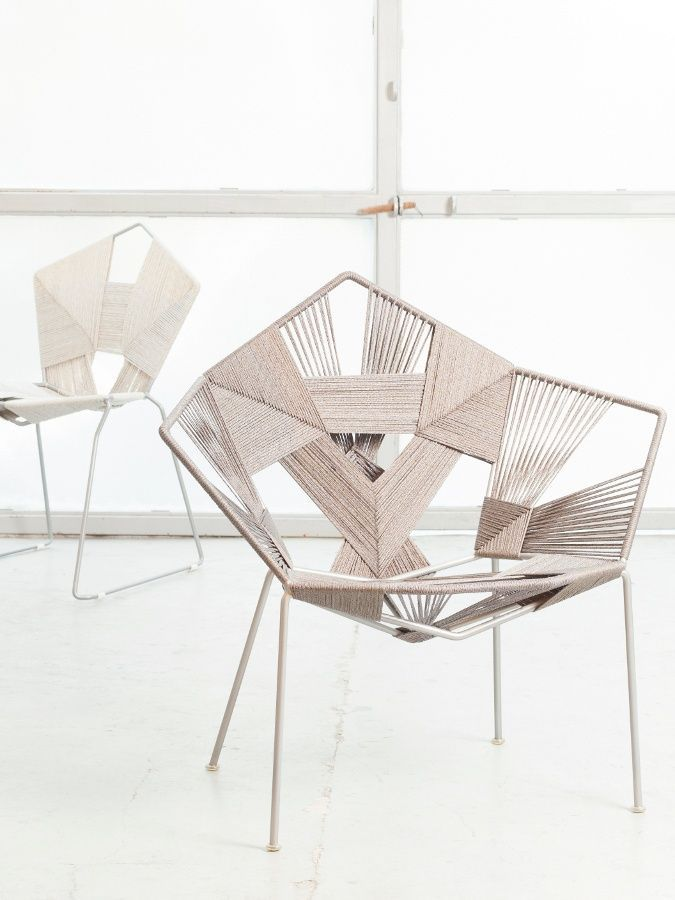 Rope thread wrapped wicker-style wire chair | Handicraft Products ...