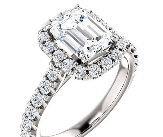 Stunning Moissanite Engagement Ring 8x6 by DKBJewelryDesigns