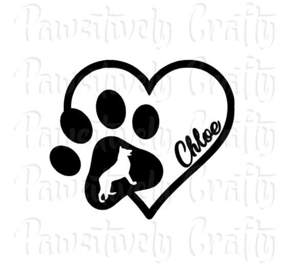 Personalized Dog Paw Print Heart Vinyl Decal Dog Lover Pet Name