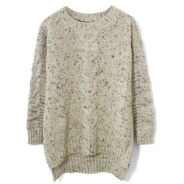 Chicwish Candy Dots Cable knit Sweater in Ivory (53 CHF) ❤ liked on Polyvore featuring tops, sweaters, shirts, chicwish, jumpers, white, acrylic sweater, chunky cable knit sweater, polka dot sweater and white polka dot shirt