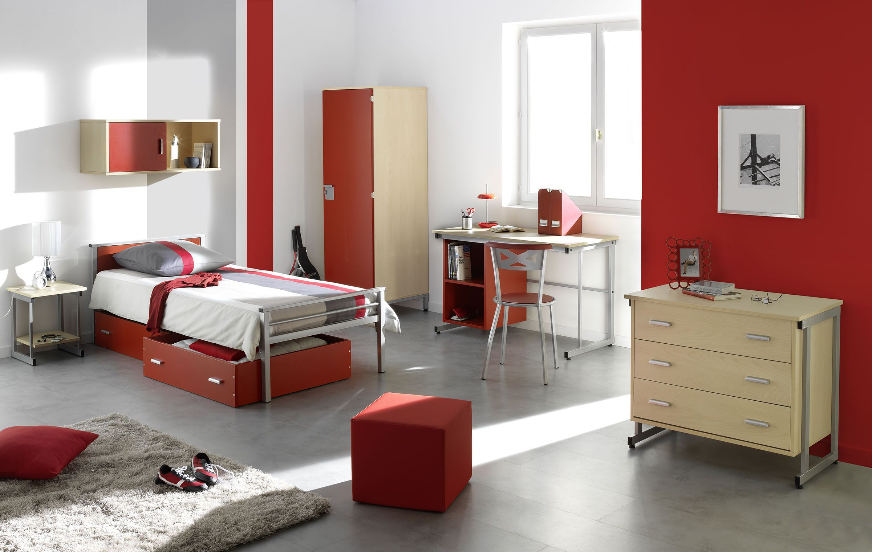 Chambre simple gamme yun lit bureau rangement lit chambre