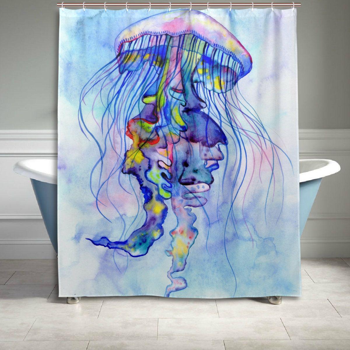 Watercolor Blue Jellyfish Shower Curtain Bathroom Decor Home Decor