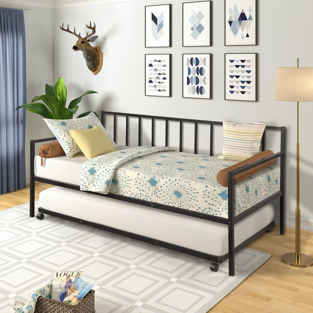 Harper Bright Designs Black Twin Size Metal Daybed With Trundle