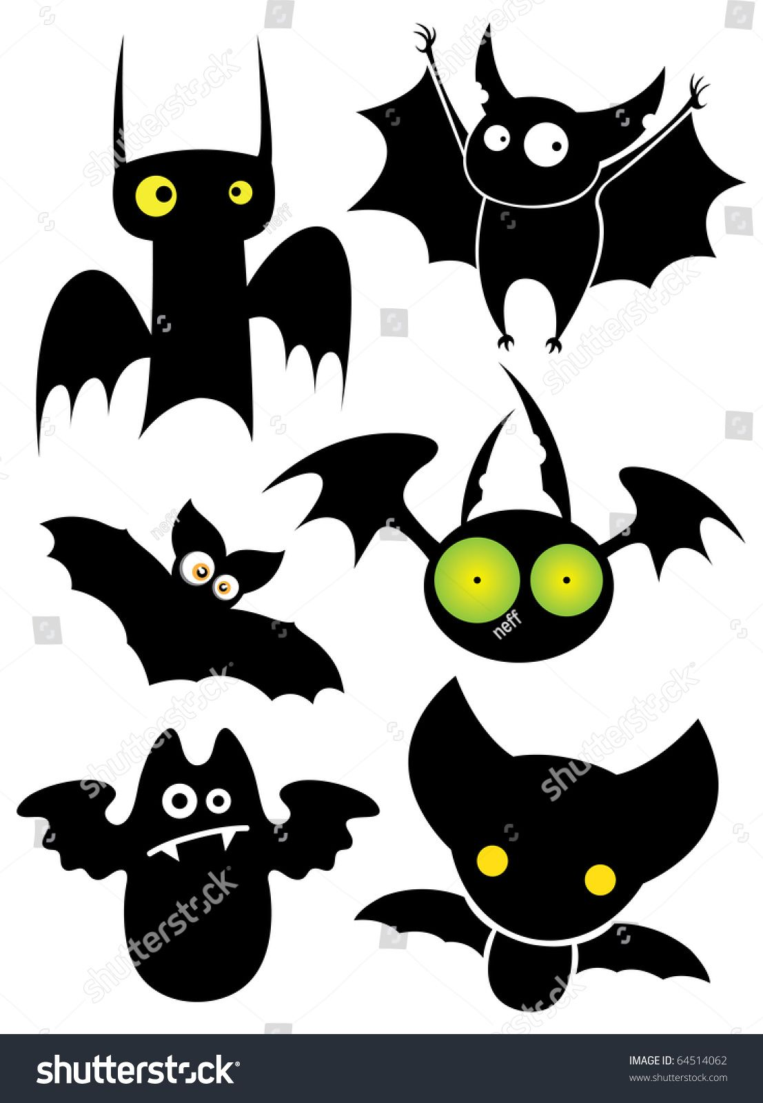 Set Of Cartoon Halloween Black Bats Vector Illustration