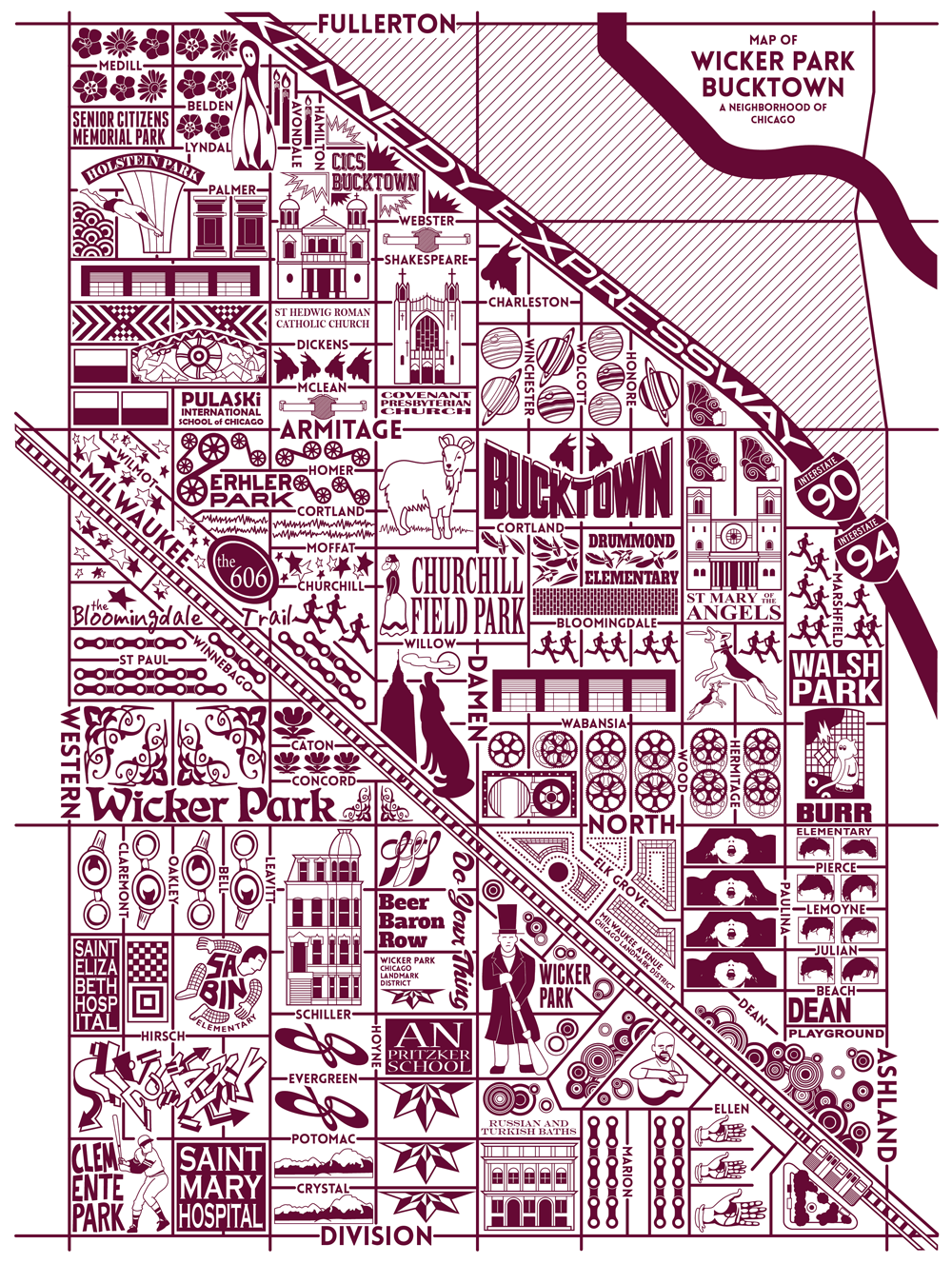 Bucktown And Wicker Park Map Misc Likes Map Park Chicago Map