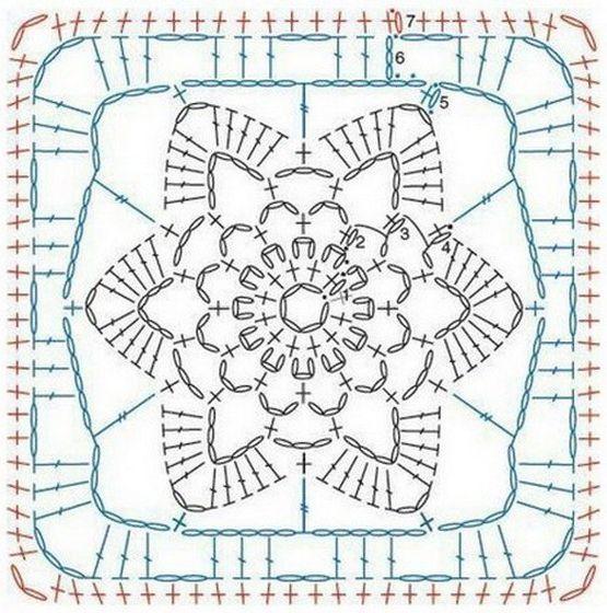 14 Granny Square Crochet Diagrams | Quadrate, Häkeln und Häkelmuster