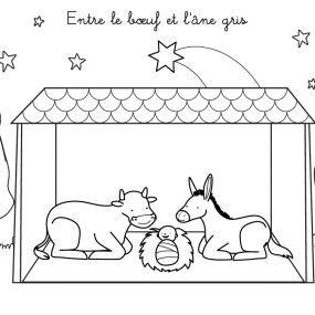 Coloriage chanson de Noël : Entre le boeuf et l'âne gris