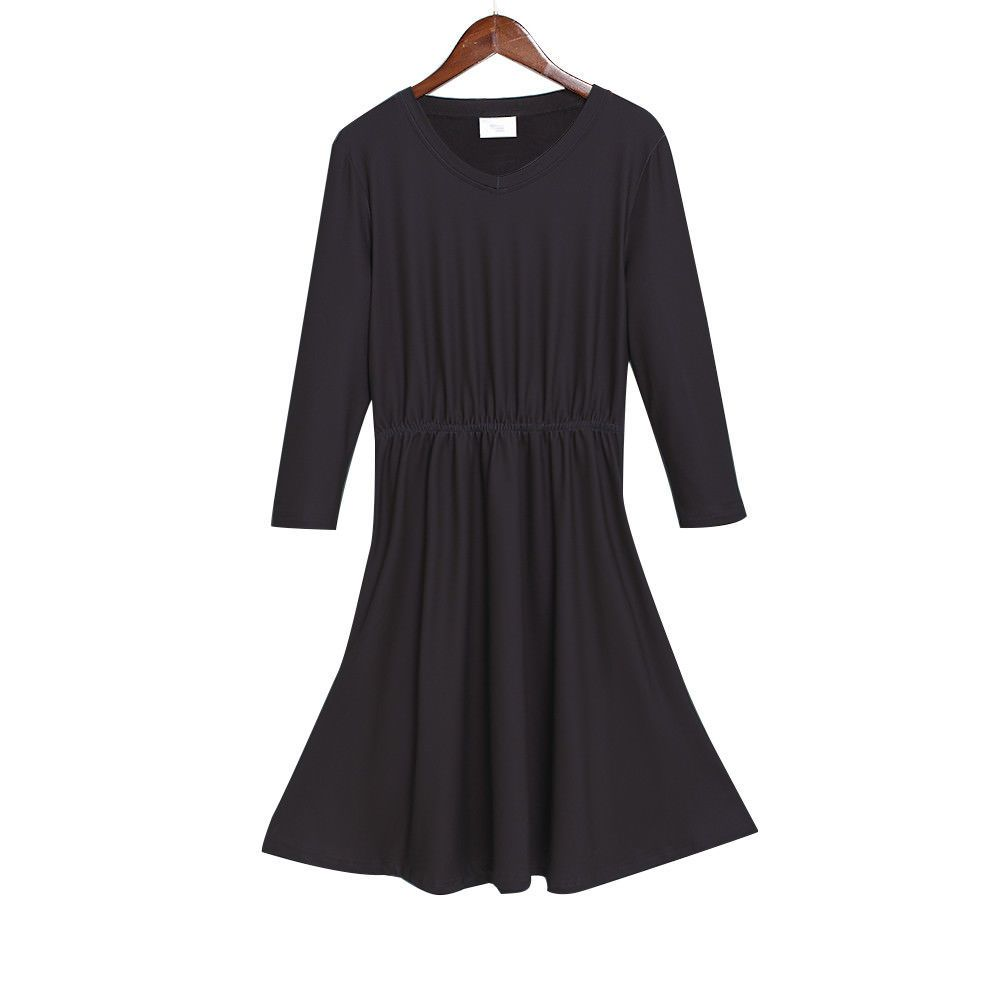 Awesome awesome womenus black v neck long sleeve dress classic dress