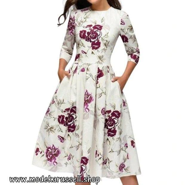 Elegentes A-line Vintage Print Party Kleid Sommerkleid ...