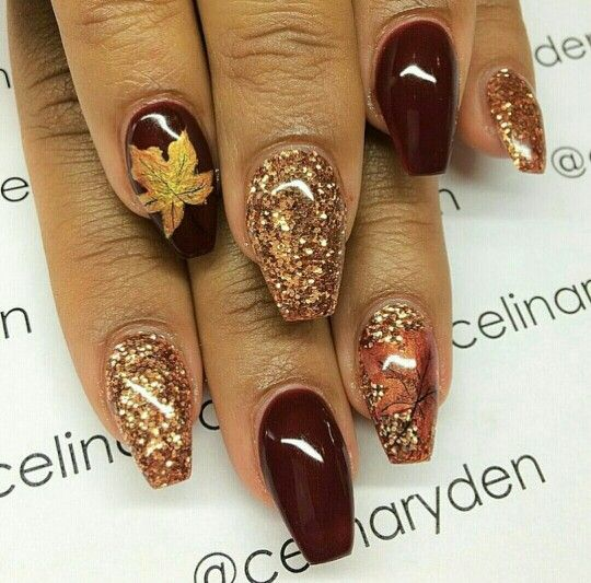 Pretty fall autumn nail art, short coffin nails