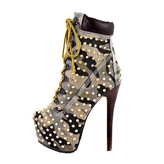752a981c06239 Onlymaker Damen Stiefel Pumps Boots Kurzschaft Stiefeletten ...