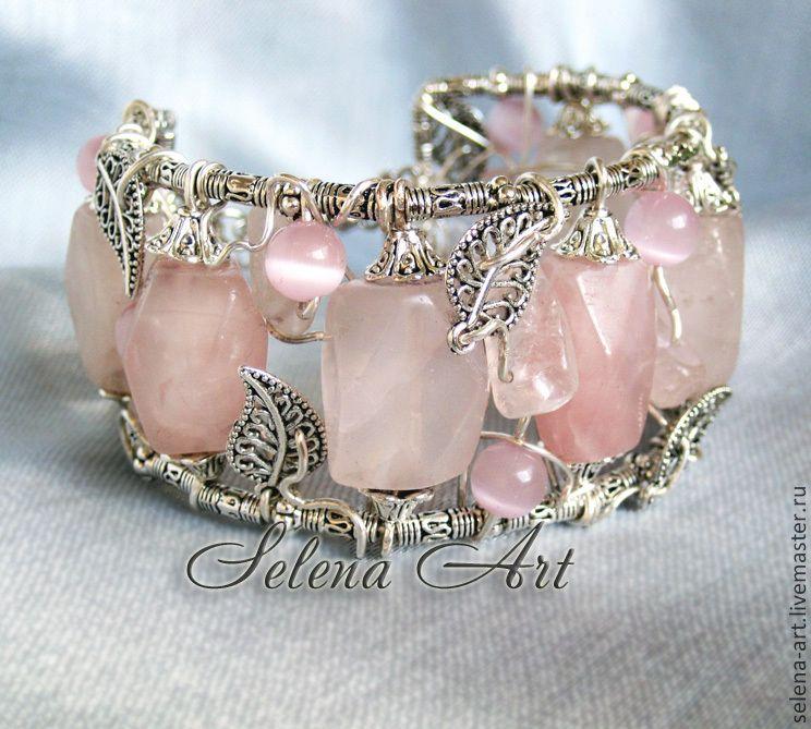 """Купить Браслет из розового кварца """"Белые ночи"""" ( серьги) - браслет из камней купить"""