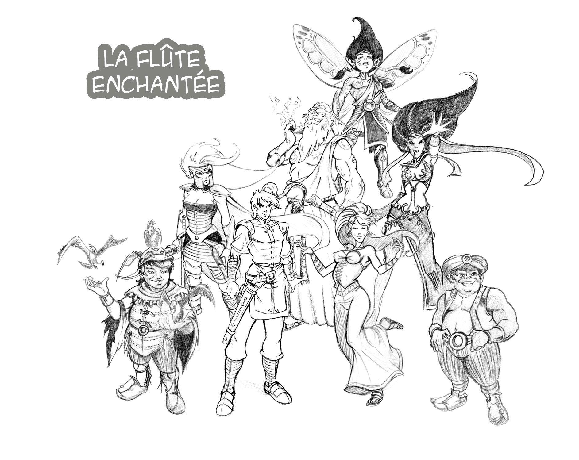 Recherche personnages pour projet bande dessin e la fl te - Dessin de flute ...