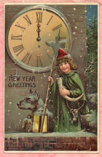 Boy Announces New Year 2 Halberd Axe Large Dog Clock Tower Keys Horn Postcard Vintage Happy New Year Happy New Year Cards Vintage Christmas Cards