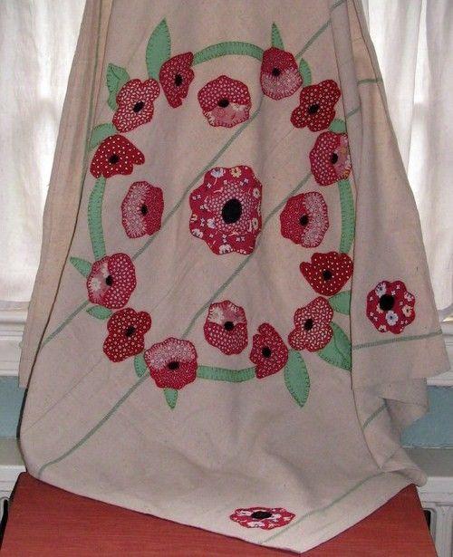 Red Poppy Tablecloth Vintage Flour Sack #shabbychic #cottagedecor #repurpose