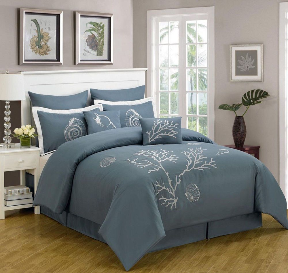 Comforter Set Cal King Coral Beach Sea Shell Tropical